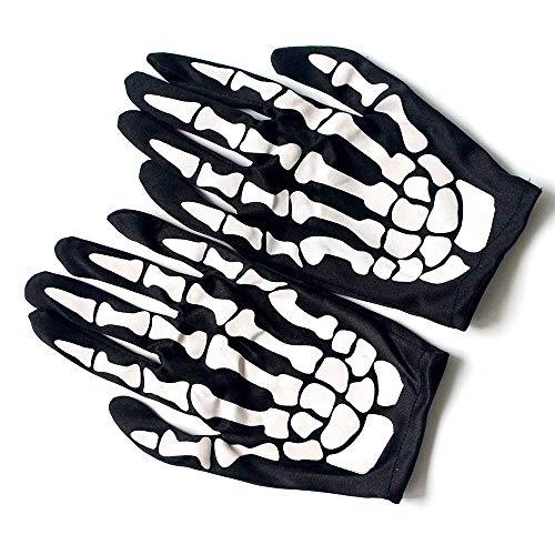 Ogquaton 5 Pairs Skeleton Handschuhe, Dance Party Cosplay Schädel Knochen Handschuh, Halloween Vollfinger Kostüm Cosplay Zubehör, Schädel Kostüm Zubehör für Unisex Kind Langlebig und - Skeleton Dance Kostüm