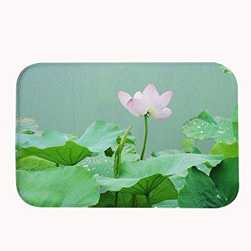 Rioengnakg Blossom loto rosa e verde lascia la piscina super assorbente tappetino antiscivolo in pile corallo tappeto zerbino d
