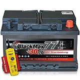 BlackMax+30% - 12 V / 77 Ah - 720 A/EN Autobatterie KFZ PKW Batterie inkl. Polfett