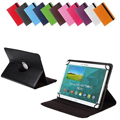 Universal Rotation-Tasche für verschiedene Tablet Modelle (9 / 10 / 10.1 Zoll, Schwarz) Größe Schutz Case Hülle Cover, 360° drehbar, vertikal und horizontal aufstellbar, mit Gummibandverschluss