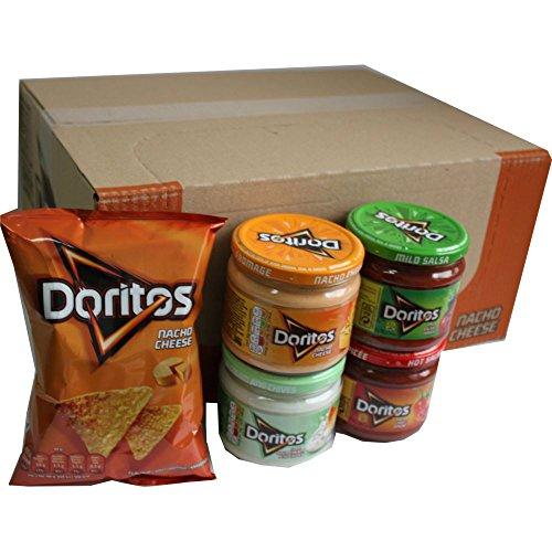 Doritos Nacho Chips Nacho Cheese 20 x 44g & Doritos Nacho Dip Sauce Testpaket Nacho Cheese 300g , Mild Salsa 326g, Hot Salsa 326g, Cool Sour Cream and Chives 300g