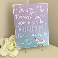 Vintage Glittery Metal Wall Sign Plaque Always Be Yourself Unless You Can Be a Unicorn