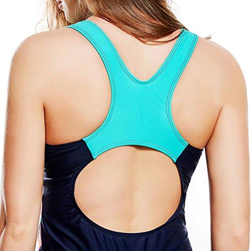 Zhhlaixing Classic Summer Spiaggia Sport Training Swimwear Womens Elastic Slim Siamese Nuoto Costume Dark blue&Orange