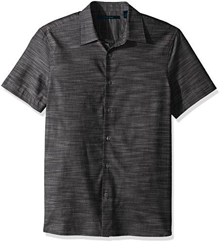 Perry Ellis herren Big & Tall Short Sleeve Solid Slub Texture Shirt  Button Down Hemd  -  grau -  (Ellis Big Tall Perry)