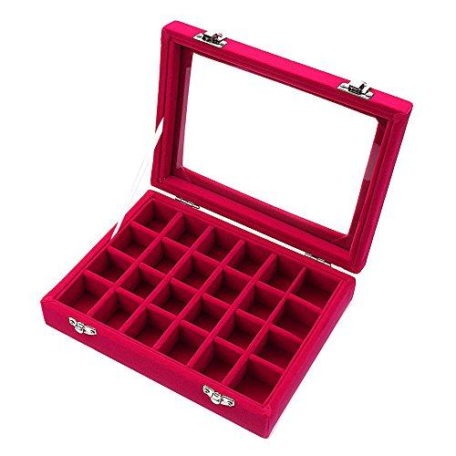 Zice-Samt-Glas-Schmuck-Box, für Ringe, Ohrringe, 24 Schlitze rosarot