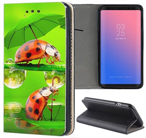 Samsung Galaxy S7 Edge G935F Hülle Premium Smart Einseitig Flipcover Hülle Samsung Galaxy S7 Edge G935F Flip Case Handyhülle Samsung Galaxy S7 Edge G935F Motiv (1330 Marienkäfer Glück Rot Grün Tier)