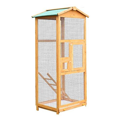 Pawhut gabbia per uccelli pappagallo grande in legno per giardino 68 × 63× 165 cm
