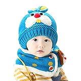 ZHOUBA Baby Mädchen Jungen Winter Warm Strickmütze Wolle Fleece Cartoon Kaninchen Mütze Schal Set