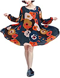 ELLAZHU Femme Robes Mousseline de soie Lantern Manche Transparent Fleur Imprime Large Hem GA39 A