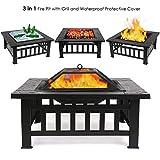 FEMOR Brasero Exterior Metal para Jardín 3 en 1 Calentador de Fuego/ Barbacoa/ Cubo de Hielo para Playa Terraza y Patio 81*81*44cm con Tapa y Malla, Color Negro