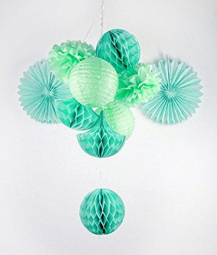 Sunbeauty serie menta pom pom e ventagli di carta sfera flower & farol alveolari appendere le decorazioni per la festa nuziale di compleanno di bambino di pasqua (estilo 3)