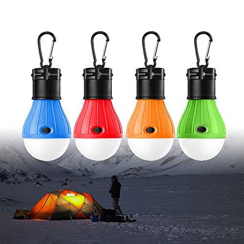 Camping Lampen LED,WeyTy LED Campinglampe Zeltlampe Glühbirne Set, Notbeleuchtung Lichter mit Haken für Camping Wandern Nachtangeln Notlicht, Abenteuer,Angeln, Garage, Notfall, Außen- oder Innen-Batteriebetriebenes-4 Pack