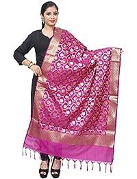 Asavari Magenta Banarasi Silk Dupatta With Golden Jari Jaal Weaves
