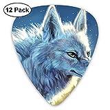 3D Blue Wolf Girl Guitar Picks - 12 pack,0.46/0.73/0.96 Mm Guitar