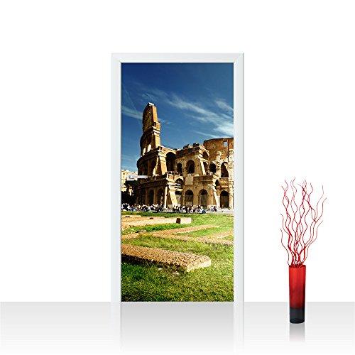 Türtapete selbstklebend 100x211 cm - Top ! PREMIUM PLUS Tür Foto Tapete ! Türposter XXL Türpanel Bild Fototapete Türfolie Poster Fototapeten Deko Stadt Rom Kolosseum - no. 249