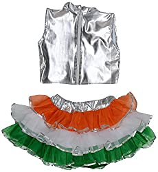 Tiranga Girl Dress Set (Tricolour, 28 Inch)