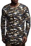 LEIF NELSON Herren Pullover Kapuzenpullover Hoodie Oversize Sweatshirt Rundhals Ausschnitt Longsleeve Sweater Langarm LN8133; Größe M, Camouflage Blau