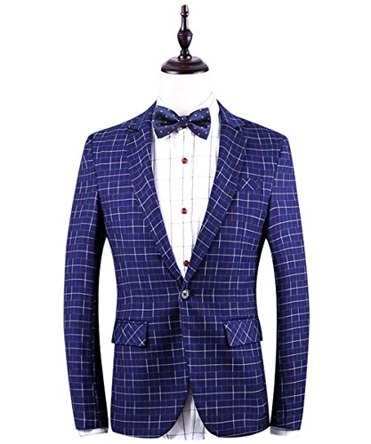 YFFUSHI -  Blazer  - Uomo Blue (One Button Wool Blazer)