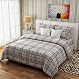 #9: BhaiJi's Pure Cotton Fitted BedSheets For Double Bed (Brown Check)