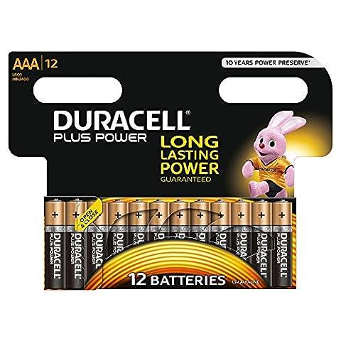 Duracell Plus Power Typ AAA Alkaline Batterien, 12er