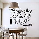 Mhdxmp Shop Vinyl Wandtattoo Bäckerei Küche Cafe Shop Zeichen Brot Kuchen Wandbild Kunst Wandaufkleber Bäckerei Schaufenster Glas Decoration57 * 72 Cm