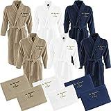 Nashville print factory 2 x Bademantel + 2 x Duschtuch Bestickt mit Name Partner-Look Sauna Hotel Morgenmantel | 3 Farben (L/XL, Navy)