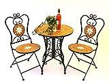 Gartenset Merano 12001-2 Sitzgruppe Gartentisch und 2 Gartenstühle aus Metall und Mosaik