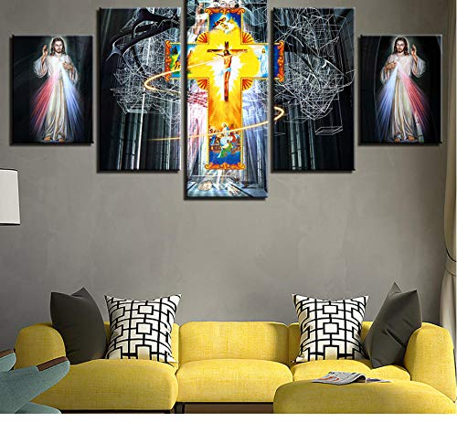 Hanjiming HD Printed Decoration Wall Art Living Room 5 Pieces Christian religion cross Jesus Canvas Painting Modular Poster Pictures (Cross Christian Art)