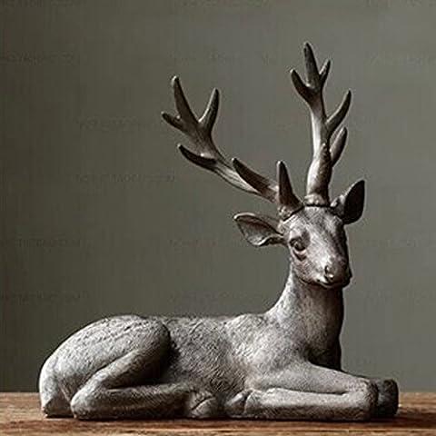 LQK-Métiers de résine country américain maison cadeau ornements antiques vieux peuplement couché ornements résine cerf , 33*16*34.5cm lying deer