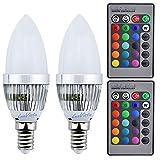 Luxvista LED-Lampe 3W, SES-Gewinde E14, RGB, 16wechselnde Farben, Kerzenform, dimmbar, mit Fernbedienung, für Bar, Party, Heimdeko, 2 Stück