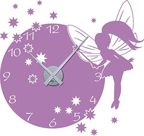 GRAZDesign Kinderuhr Kinder Wanduhr Fee mit Sternen - Wandtattoo mit Uhrwerk mit großem Ziffernblatt - Wandtattoo Uhr Kinderzimmer süßes Motiv für Mädchen / 60x57cm / 800394_SI_042