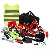 Sailnovo Kits di Emergenza per Auto Portatile, Kit di Sicurezza per Emergenza Multi Funzione di Assistenza Stradale, Triangolo di Segnalazione, con Cavi Jumper, Fune di Traino, ECC