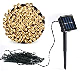 Vlio 8Modes Led Solar Power Fairy String Lights Outdoor Decorative Light 100 LEDs Waterproof IP44 with Light for Garden Home Wedding Party Christmas Halloween (100Leds Warm White)