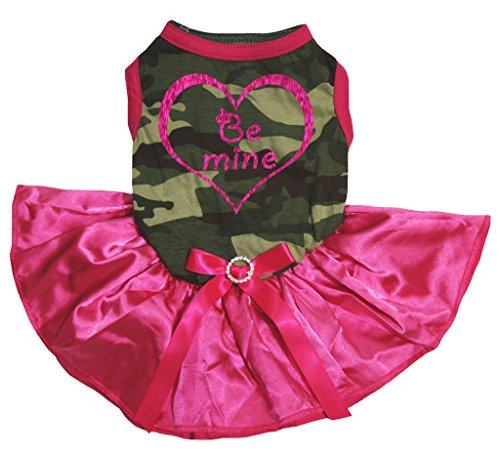 petitebelle Puppy Kleidung Hund Kleid Be Mine Herz Camouflage Top Hot Pink Tutu (Camouflage Tutu)
