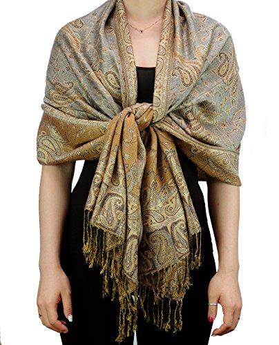 Fabuleux foulard-châle doux à imprimé Jacquard Paisley Produit offert par NYFASHION101. Gris pâle