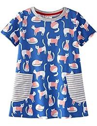 b2278bf18388d Backbuy Filles Coton Robe à Manches Courtes Girls  Cartoon Animaux Robe  Tenues d été