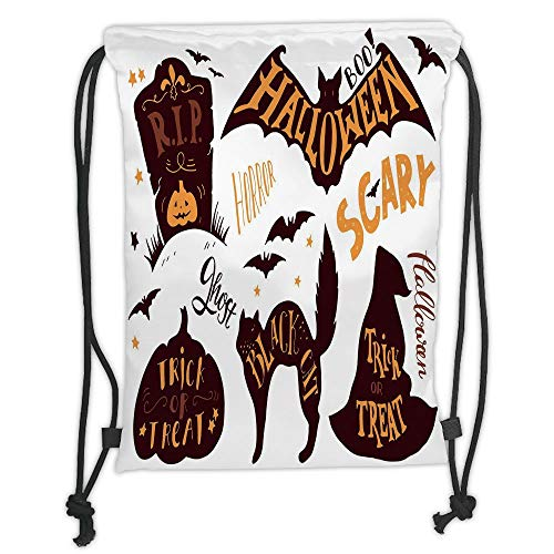 Bags,Vintage Halloween,Halloween Symbols Trick or Treat Bat Tombstone Ghost Candy Scary Decorative,Dark Brown Orange Soft Satin,5 Liter Capacity,Adjustable STR ()