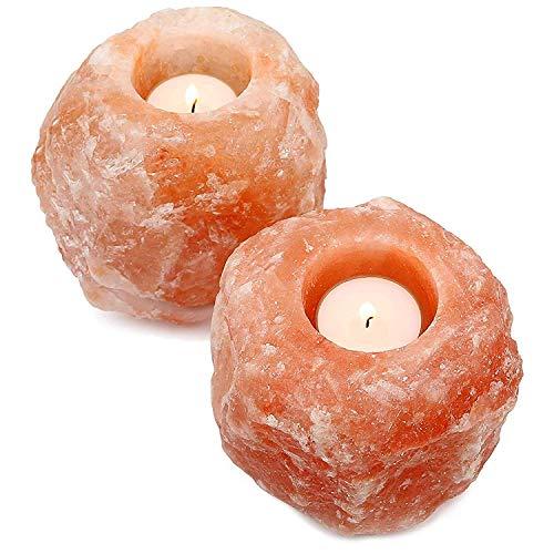 Diech, candela in cristallo di sale dell'himalaya, con bastoncino arancione minerale naturale, decorazione da tavolo arancione, 2 pezzi