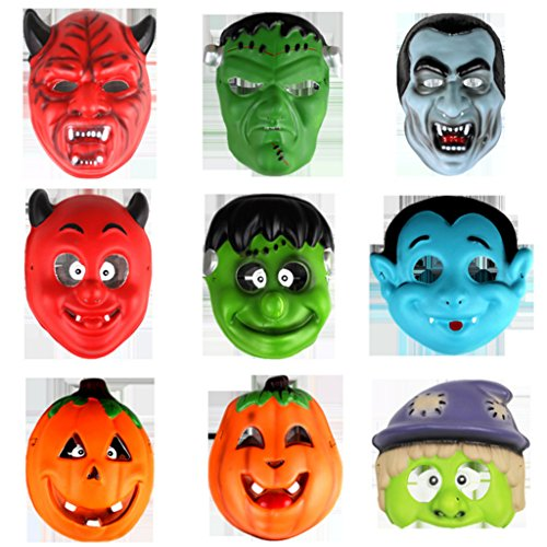 BIEE 9 Stück Masken Cosplay Party Augenmasken Filz Masken Masken Halloween Weihnachten Maske