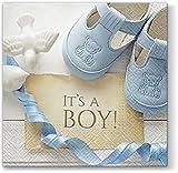 20 Servietten Its a Boy blau / Baby / Junge / Geburt / Taufe 33x33cm