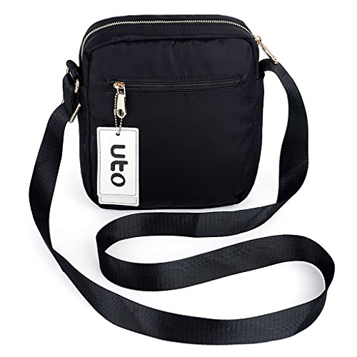 UTO Borsa a Tracolla Ultraleggera in nylon impermeabile convertibile crossbody borsa a spalla per iPad-Mini, Kindle e Compresse Nero Nero-Piccola