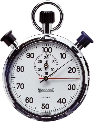 HANHART Doppelzeigerstoppuhr AWF2 Einteilung 1/100 Minute