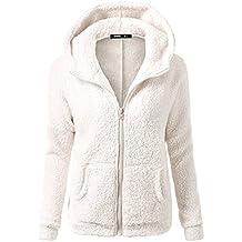 Mujer Color Sòlido Sudadera con Capucha Camiseta Deporte Suéter Casual Chaqueta con Cremallera Pullover Blanco S