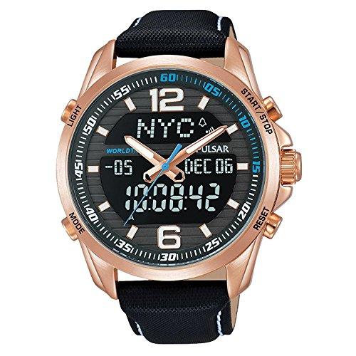 Pulsar Men's 44mm Black Leather Band Steel Case Quartz Watch PZ4006