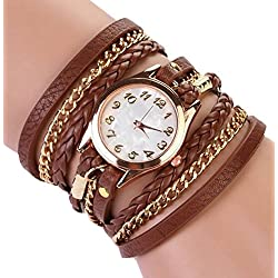 PromiseU Women Synthetic Leather Strap Watch-Brown