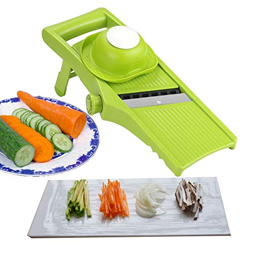 Aibesser Mandoline Gemüsehobel 3 in 1 Gemüseschneider Profi Gemüsereibe Kartoffelschneider, Manuelle Essen Slicer, Obstschneider, Pflanzliche Slicer, Börner Gemüsehobel Reiben, Einfach (Grün)