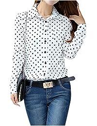 f6fac3de78a9 GleaderNew Hot Fashion Casual Women Blouses Vintage Polka Dot Chiffon  Blouses Long Sleeve Lapel Shirts white