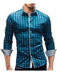 MERISH Camisa Manga Larga Diseño Checkered Para Hombre Modell 144