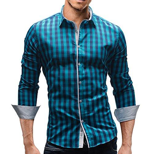 Merish Camicia Uomo a scacchi Slim Fit,Camicia manica lunga adatto per tutte le occasioni,casual e chic, diversi Colori Taglia S - XXL Modell 144 Turchese/Blu