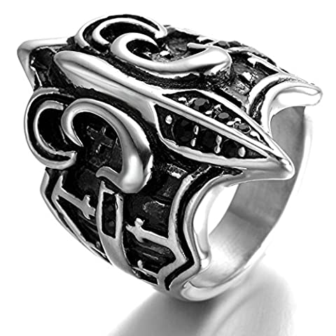 Stainless Steel Ring for Men, Fleur De Lis Ring Gothic Black Band Silver Band 25*33MM Size T 1/2 Epinki
